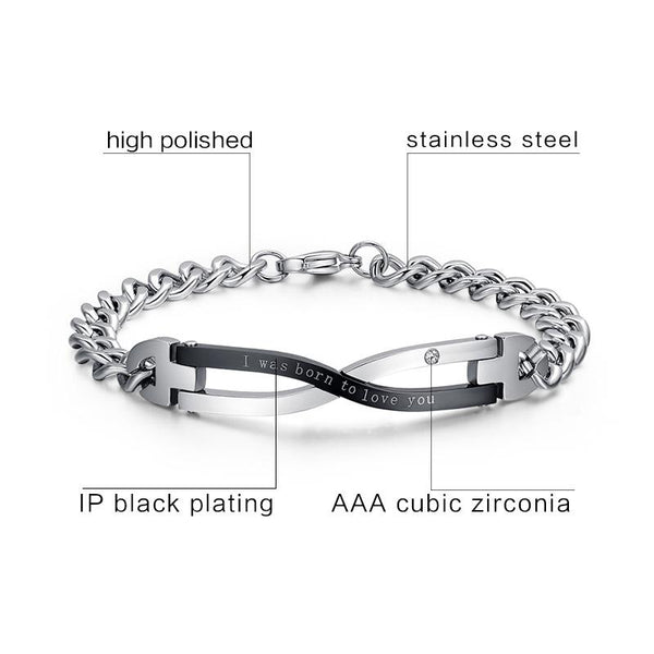 316l Stainless Steel Bracelet Bangle for Couples Wedding Jewelry