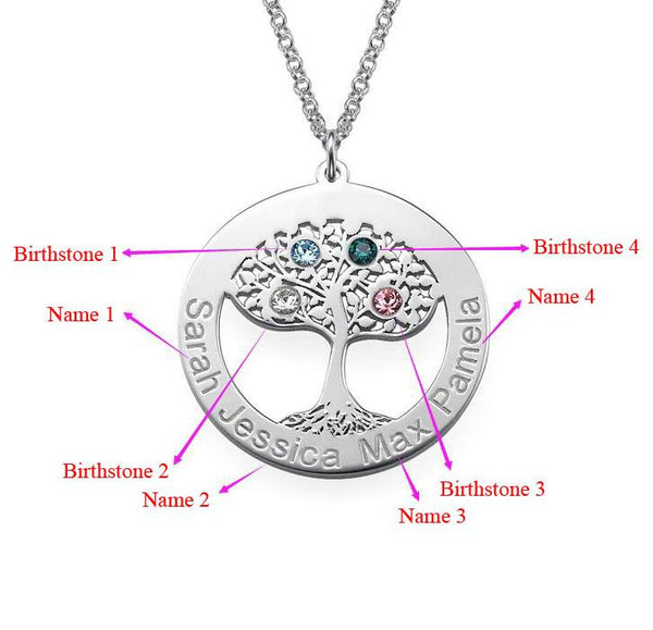 Circle Tree Necklace with Birthstones