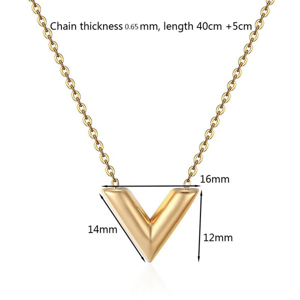 Classic Design Famous Brand V Letter Pendant Necklace Titanium Steel Necklace Luxury Jewelry