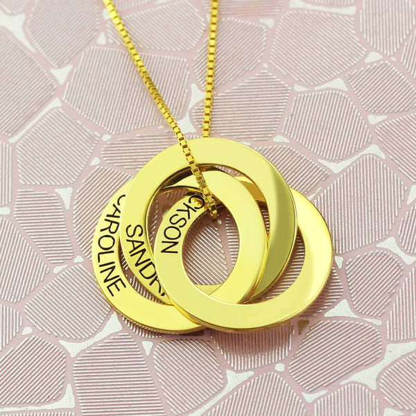 Circle Necklace Gold Color 3 Intertwined Circles Necklace Anniversary Gift for Her
