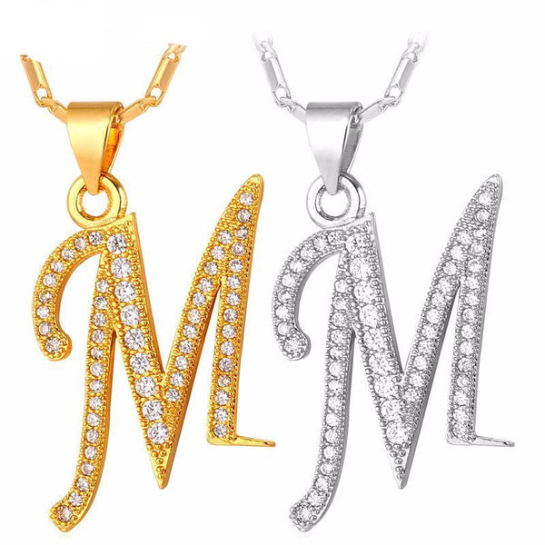 Letter Necklace Silver/Gold Color Alphabet Pendant & Chain Name Jewelry Gift