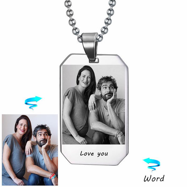 Custom Photo & Nam Necklace Picture Personalized Custom Laser Engraved