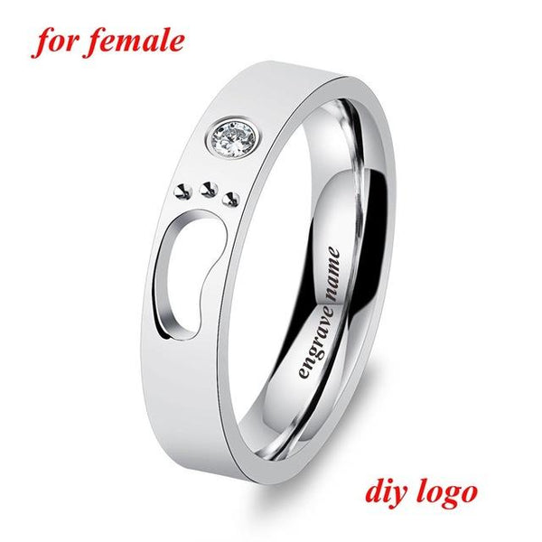 Engrave Name Couple Rings Baby Feet Stainless Steel Rings