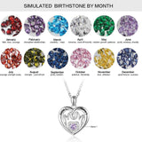 925 Sterling Silver Birthstone Necklace Engrave 2 Names