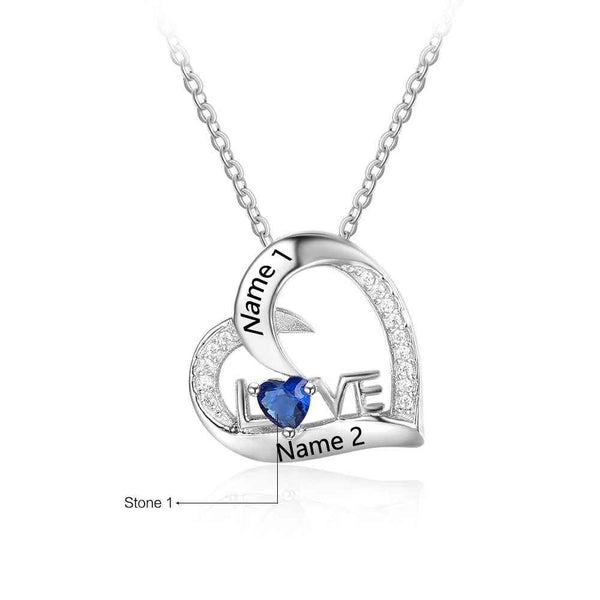 Personalized 925 Sterling Silver Birthstone Necklace Pendants Mom Girlfriend Birthday Gift