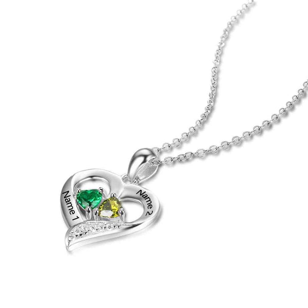 Personalized 925 Sterling Silver 2 Birthstone Necklace Pendants Engraved Heart BirthStones Necklace