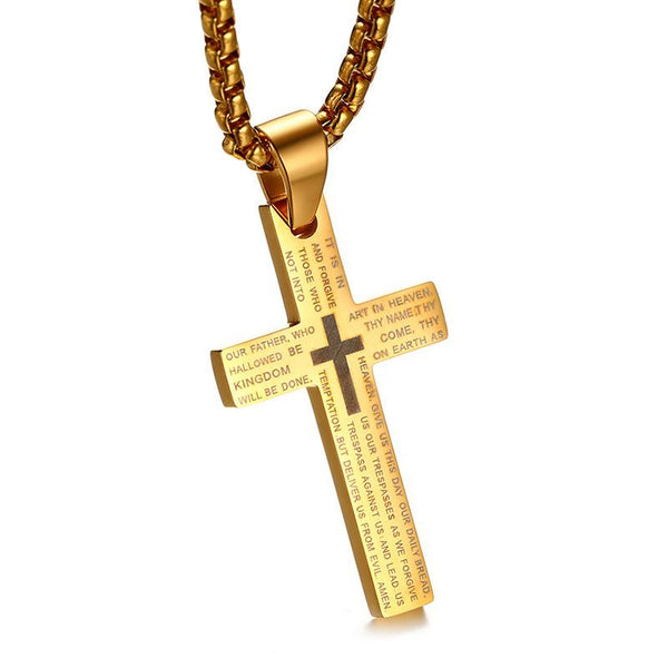 Classic Cross Pendants & Necklaces for Men Engraved Bible Prayer Stainless Steel Jewelry