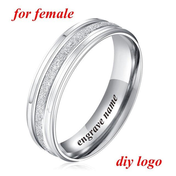 Couple Rings Stainless Steel Wedding Rings Engrave Name Rings For Lover