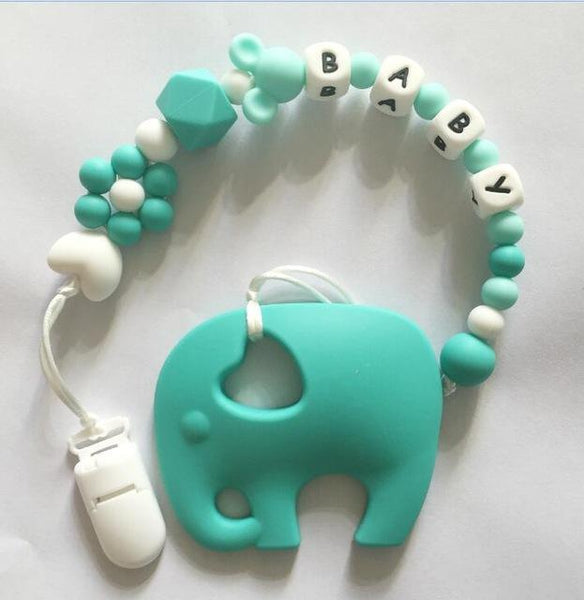 Personalized Name Silicone Teething Pacifier Clips with Elephant