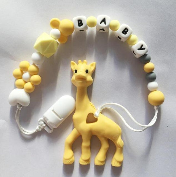 Personalized Name Silicone Teething Pacifier Clips with Giraffe
