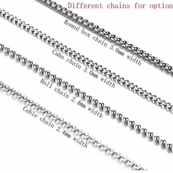 "Vintage Men's Necklace Pendant for Men Stainless Steel Cross 24"" Chain"
