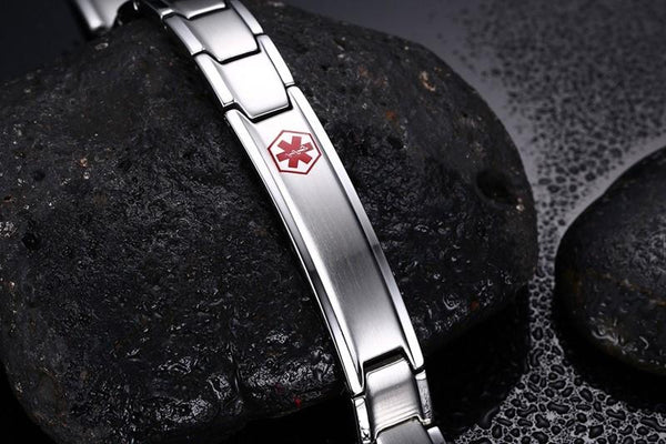Men's Medical Alert ID Bracelet Bangle Jewelry Stainless Steel Metal 8.5inch