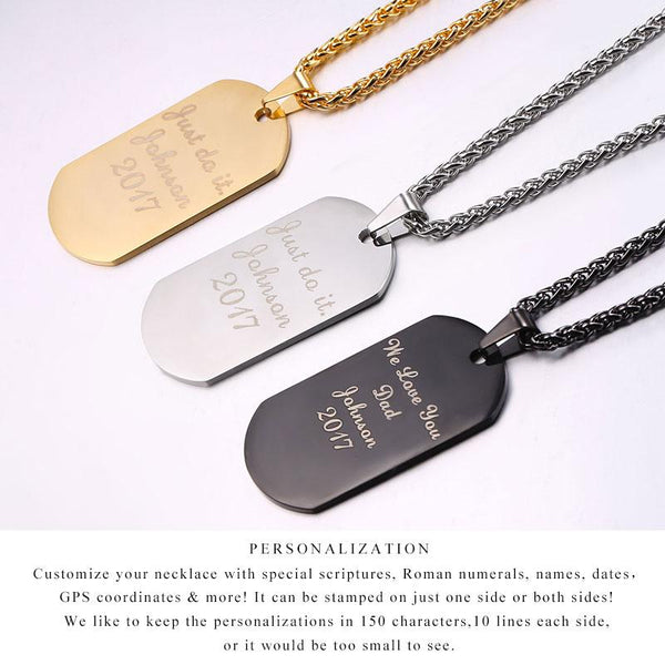 Personalized Dog Tag Necklace Wedding Date Name ID Men Jewelry Anniversary Gift for Him