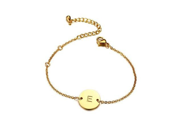 Letter Engraved Bracelet Gold color Stainless Steel Chain Link Adjustable Length Female ID Jewelry