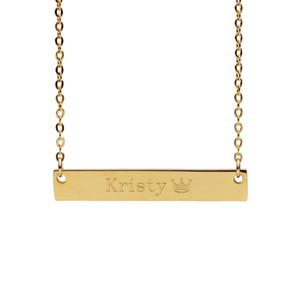 Engrave Custom Name Necklace 3 Color Bar Necklaces Pendants