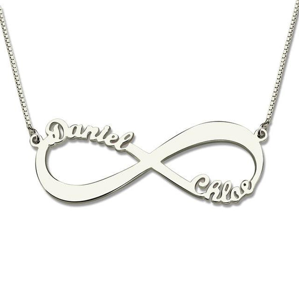 Personalized Infinity Necklace Two Name Necklace Silver