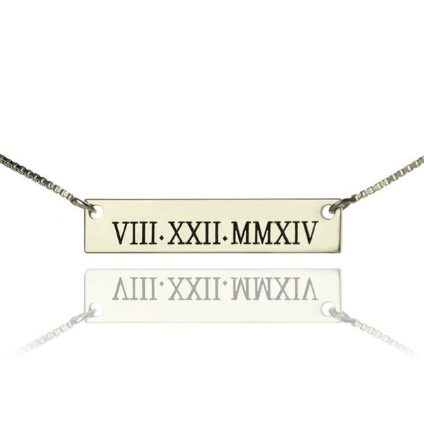 Personalized Roman Numeral Necklace Special Data Necklace Sterling Silver Engraved Bar Necklace
