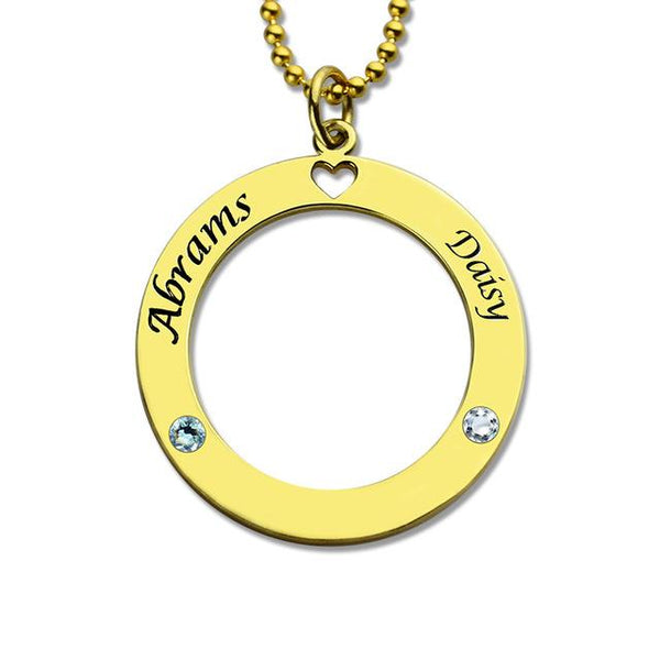 Circle Name Necklace Personalized Couples Necklace with Birthstones Silver Nameplate Pendant