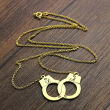 Gold Color Handcuff Necklace Initials Charm Sweet Couples Name Necklace Love Jewelry