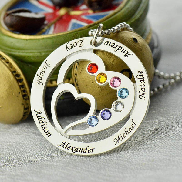 Heart in Heart Birthstone Family Name Necklace