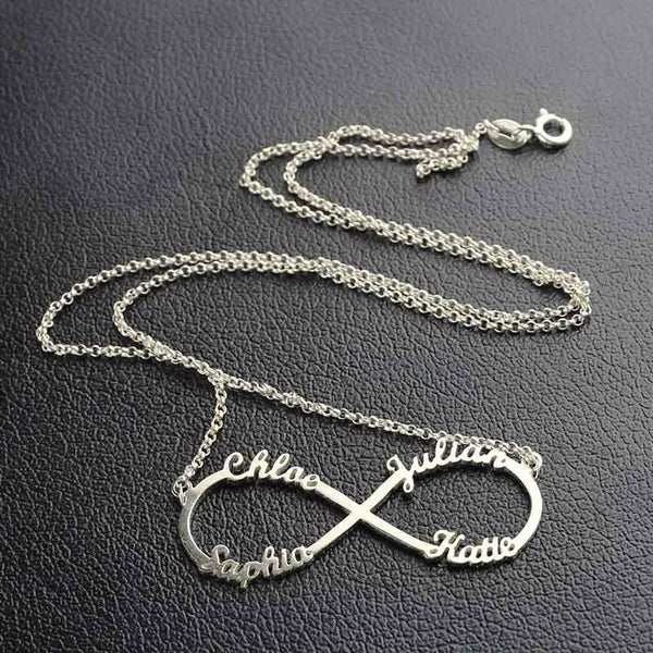 4 Names Personalized Silver Infinity Necklace