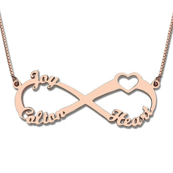 Sterling Silver Heart Brand Infinity Necklace with Three Names