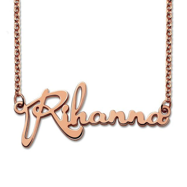 Rose Gold Color Personalized Celebrity Name Necklace Customized Name Pendant Fashion Gift for Her