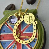 Initial Horseshoe Necklace Gold Color Birthstone Charm with Engraved Initial Disc Lucky Charm