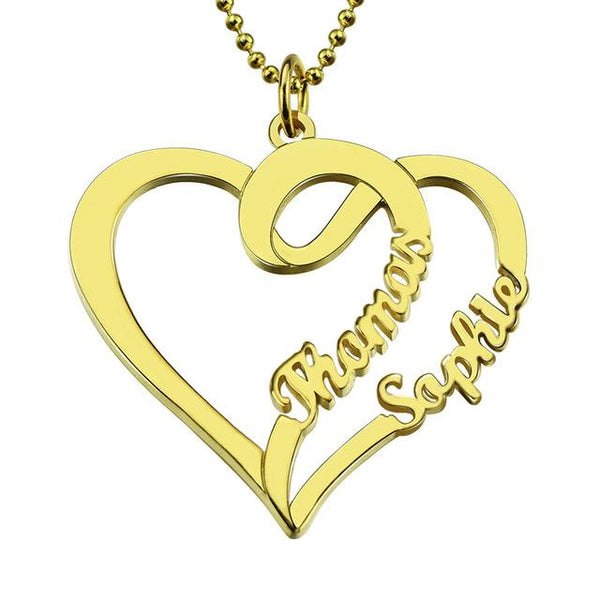 Personalized Love Necklace with Two Hearts and Names Gold Color Custom Name Necklace