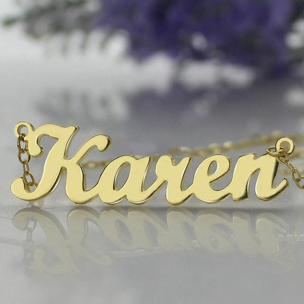 Karen Style Name Necklace Gold Color Over Copper Initials