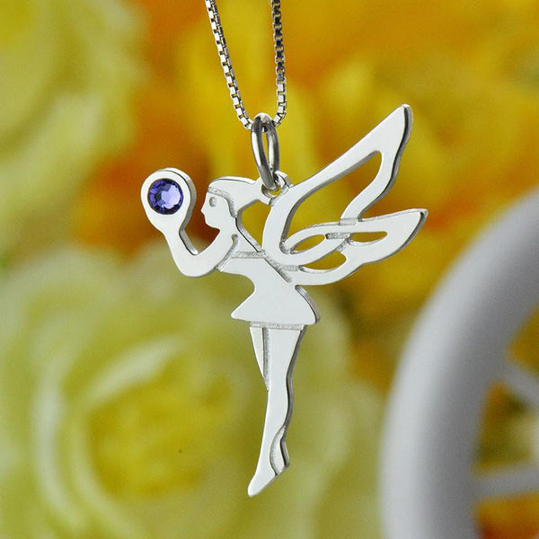 Birthstone Necklace Silver Tooth Fairy Girls Party