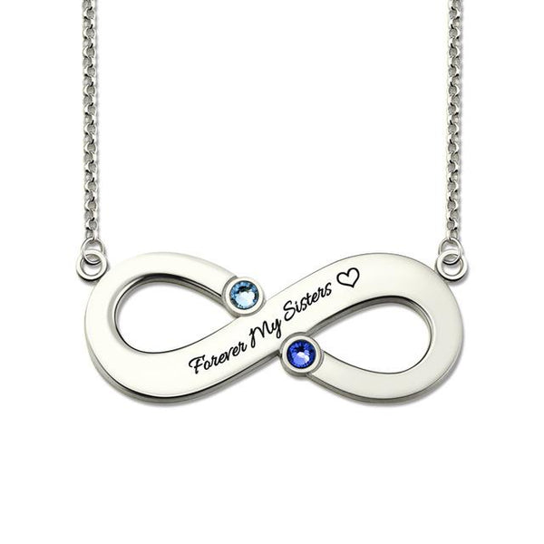 Infinity Necklace with 2 Birthstones Mothers Necklace Infinity Symbol Name Necklace Bridesmaid Gift