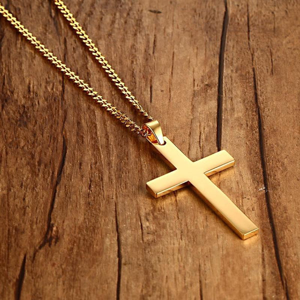 Customized Logo Name Cross Necklace Pendant Stainless Steel Best Friend Gift