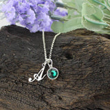 Initial Birthstone Necklace Monogrammed Custom Letter Jewelry Push Present Sterling Silver