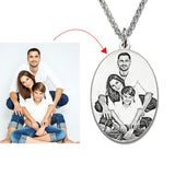 Personalized Sterling Silver Photo Engraved Necklace Oval Photo Necklace Memorial Jewelry Gift