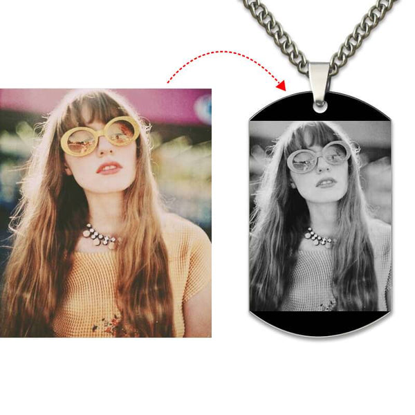 Photo Necklace In Black Color Engraved Photo Tags Necklace Picture Pendant Father's Day Gift