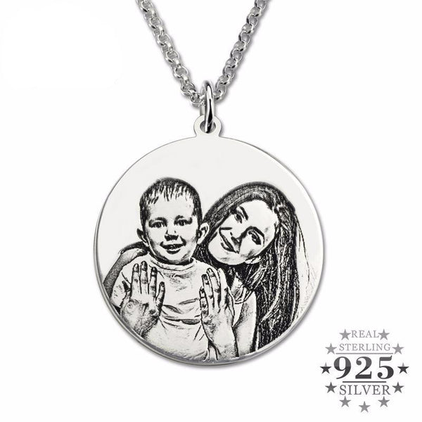 Sterling Silver Personalized Photo Engraved Necklace
