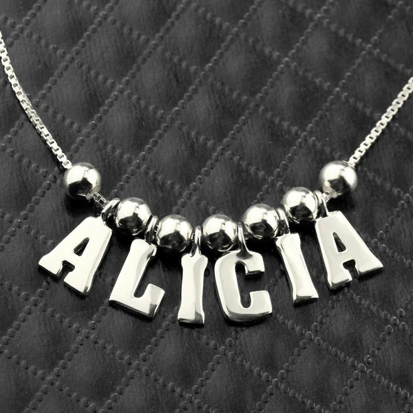 Personalized Name Necklace Sterling Silver Letter Necklace for Her Fashion Name Pendant