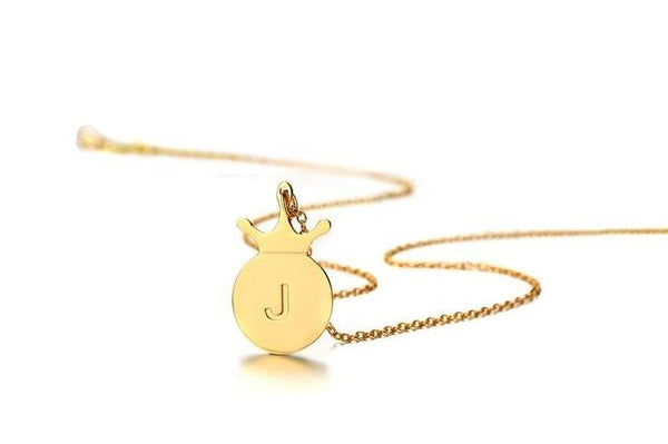A-Z Simple Tiny Initials Necklace Stainless Steel Crown Disc Letters