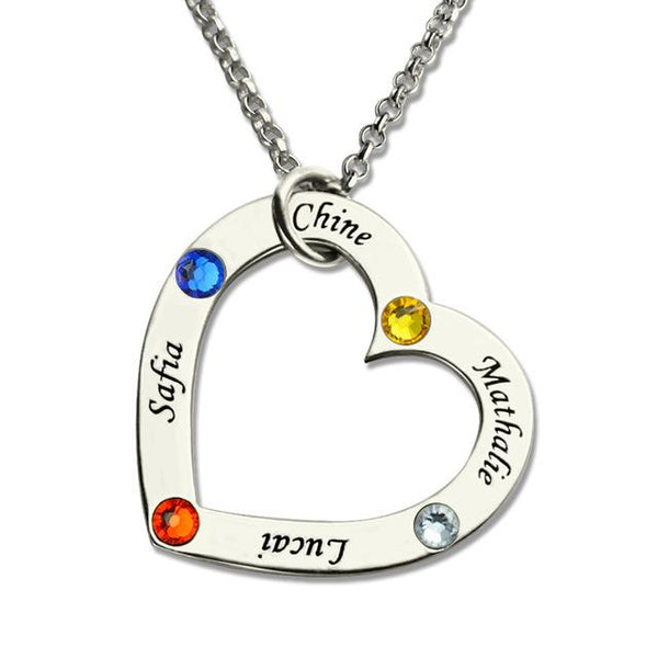 Birthstone Heart Necklace in Silver Personalized Jewelry for Mom