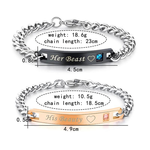 Love Bracelet Her Beast His Beauty Her king His Queen
