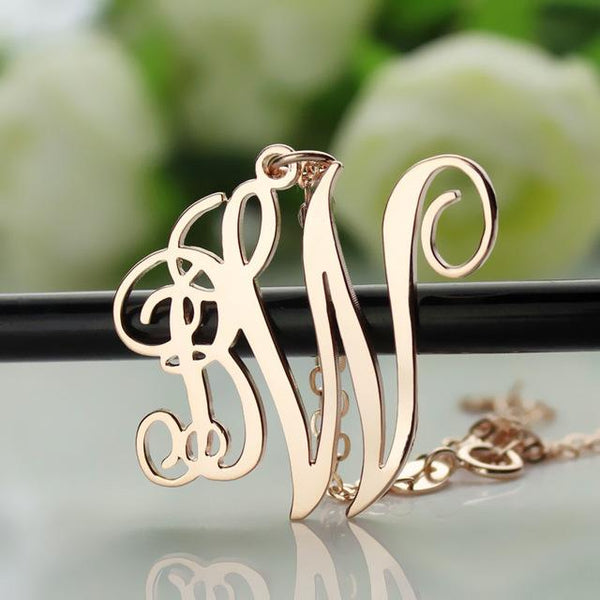 Custom Monogram Pendant Name Necklace Rose Gold Color 2 Initials Monogrammed Nameplate Necklace