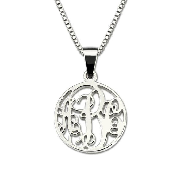Sterling Silver Circle Monogram Necklace Personalized Name Necklace 3 Letters
