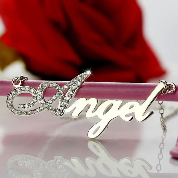 Silver Capital Letter Name Necklace Personalized Nameplate Pendant Letters Jewelry