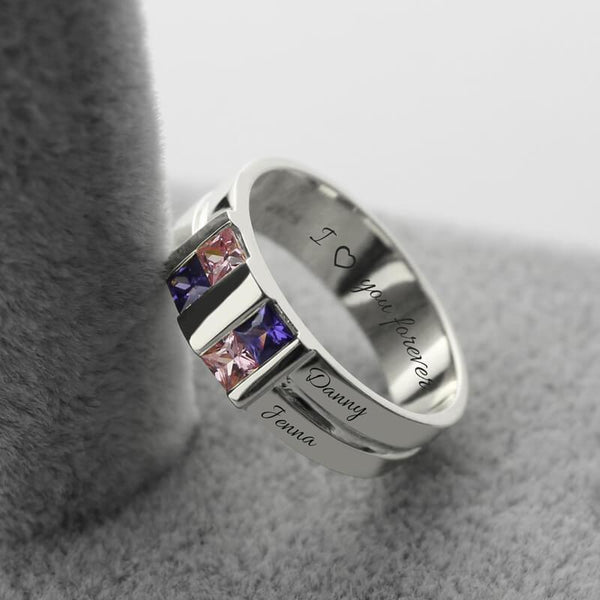 Customized Men's Birthstone Ring Silver Four Stone Grooved Men's Ring Family Ring for Father