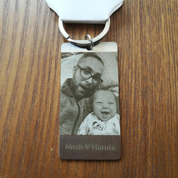 Custom Personal ID Tag Stainless steel Key Chains Engrave Photos Letters