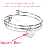 Expandable Wire Bangle Bracelets for Women Stainless Steel Heart Tag Engrave Name Bracelet