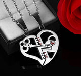 Romantic Couples Heart Key Crystal Pendant Her & His Love Necklace Set Lover Stainless Steel