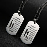 TO MY SON Stainless Steel Pendant Necklaces Engrave Name Love Dad/Mum