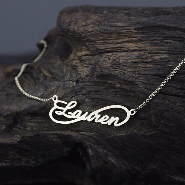 Personalized Infinity Necklace Custom Name Necklace Sterling Silver